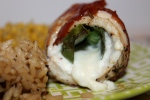 Chicken Roulade Stuffed with Sweet Basil, Mozzarella, & Bell Pepper Wrapped in Prosciutto