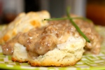 White Cheddar, Chive, and Sage Biscuits and Chorizo Gravy